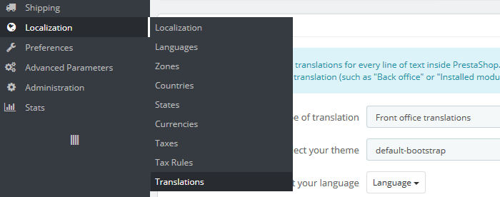 prestashop 1.6 - translations